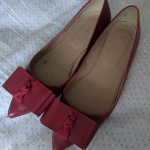 Red leather bow flats